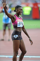 Perri Shakes-Drayton of Great Britain is happy after running a pb in the Womens 400m Hurdles race at the Sainsbury Anniversary Games, Olympic Stadium, London England, Friday 26th July 2013-Copyright owned by Jeff Thomas Photography-www.jaypics.photoshelter.com-07837 386244. No pictures must be copied or downloaded without the authorisation of the copyright owner.