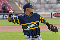 Beloit Snappers catcher Jose Chavez (15) warms up prior to a Midwest League game against the Wisconsin Timber Rattlers on May 30th, 2015 at Fox Cities Stadium in Appleton, Wisconsin. Wisconsin defeated Beloit 5-3 in the completion of a game originally started on May 29th before being suspended by rain with the score tied 3-3 in the sixth inning. (Brad Krause/Four Seam Images)