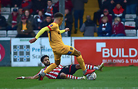 Northampton Town's Shaun McWilliams is fouled by  Lincoln City's Bruno Andrade<br /> <br /> Photographer Andrew Vaughan/CameraSport<br /> <br /> Emirates FA Cup First Round - Lincoln City v Northampton Town - Saturday 10th November 2018 - Sincil Bank - Lincoln<br />  <br /> World Copyright &copy; 2018 CameraSport. All rights reserved. 43 Linden Ave. Countesthorpe. Leicester. England. LE8 5PG - Tel: +44 (0) 116 277 4147 - admin@camerasport.com - www.camerasport.com