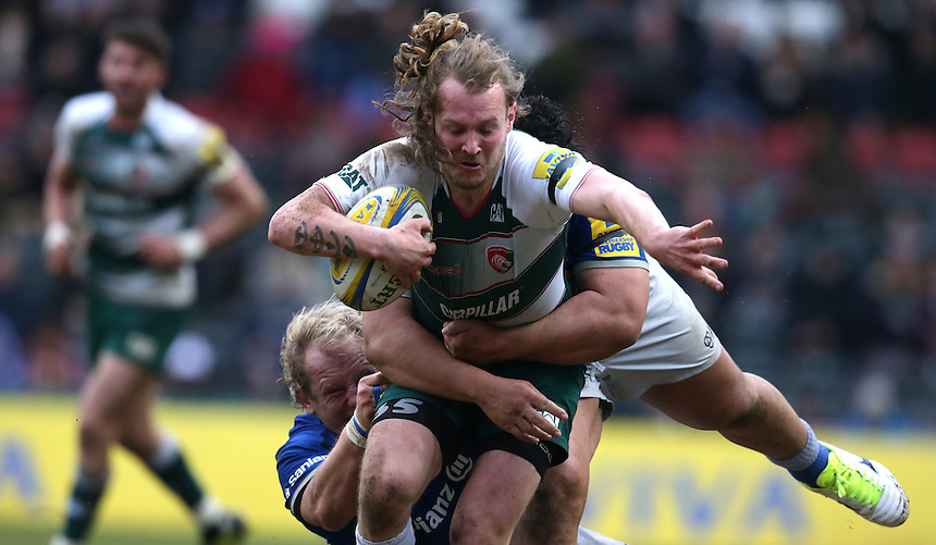 Leicester Tigers' Sam Harrison<br /> <br /> Photographer Stephen White/CameraSport<br /> <br /> Rugby Union - Aviva Premiership Round 17 - Leicester Tigers v Saracens - Sunday 20th March 2016 - Welford Road - Leicester <br /> <br /> &copy; CameraSport - 43 Linden Ave. Countesthorpe. Leicester. England. LE8 5PG - Tel: +44 (0) 116 277 4147 - admin@camerasport.com - www.camerasport.com