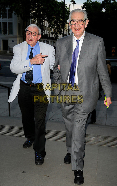 ERIC SYKES & DENIS NORDEN.HarperCollins Publisher Summer Party, Victoria & Albert Museum, London, England..July 1st, 2008.V&A V & A Harper Collins full length black trousers jacket blue shirt glasses grey gray suit hand pointing dennis.CAP/CAN.©Can Nguyen/Capital Pictures.