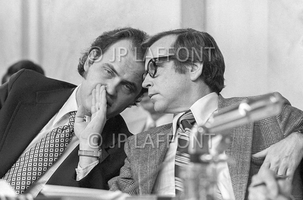 1973, Washington, DC, USA --- Fred Thompson, Minority Council to Republican Senators, with Senator from Tennessee Howard Baker during Watergate hearings - A break in at the Democratic National Committee headquarters at the Watergate complex on June 17, 1972 results in one of the biggest political scandals the US government has ever seen. Effects of the scandal ultimately led to the resignation of President Richard Nixon, on August 9, 1974, the first and only resignation of any U.S. President. --- Image by © JP Laffont