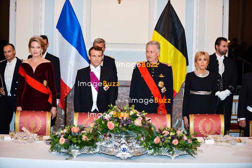 Le Président français Emmanuel Macron et Brigitte Macron, sont invités au dîner d'état par le roi Philippe de Belgique et la reine Mathilde de Belgique, au château royal de Laeken, lors d'une visite d'état en Belgique.<br /> Belgique, Bruxelles, 19 novembre 2018.<br /> French President Emmanuel Macron and wife Brigitte Macron attend thé State Dinner with King Philippe of Belgium and Queen Mathilde of Belgium, at thé Royal Castle during a State Visit to Belgium.<br /> Belgium, Brussels, 19 November 2018.