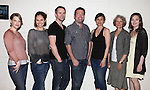 """Kellie Overbey, Lee Tergesen, Amy Brenneman, Director Peter DuBois, Playwright Gian Gionfriddo, Beth Dixon & Virgina Kull.attending the Meet & Greet for the Playwrights Horizons production of """"Rapture, Blister, Burn'  at their rehearsal studio in New York City on 4/17/2012"""
