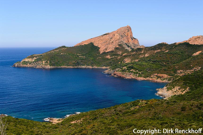 Capu Rossu an der Bucht von Porto Porto, Korsika, Frankreich