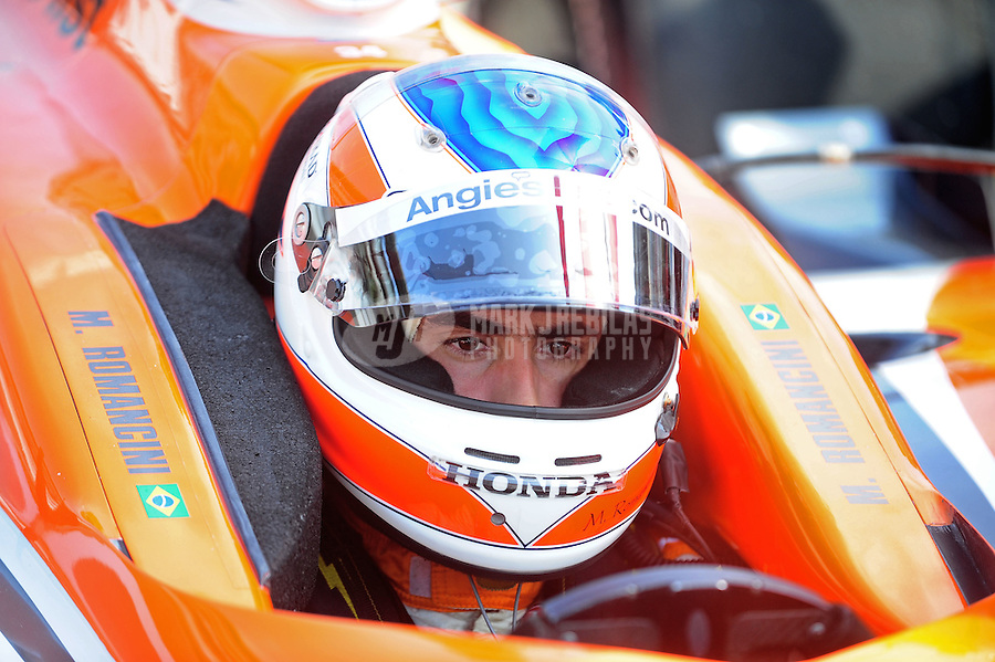 May 28, 2010; Indianapolis, IN, USA; IndyCar Series driver Mario Romancini during carb day prior to the Indianapolis 500 at the Indianapolis Motor Speedway. Mandatory Credit: Mark J. Rebilas-