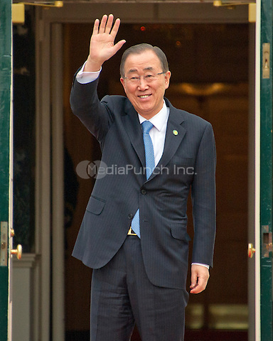 Ban Ki moon (ROK), Secretary General of the United Nations arrives for the working dinner for the heads of delegations at the Nuclear Security Summit on the South Lawn of the White House in Washington, DC on Thursday, March 31, 2016.<br /> Credit: Ron Sachs / Pool via CNP/MediaPunch