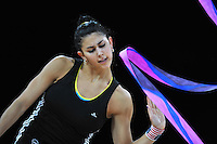 September 18, 2011; Montpellier, France;  JULIE ZETLIN of USA trains with ribbon at 2011 World Championships Montpellier.