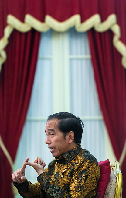 """21 FEBRUARY 2017, Jakarta, Indonesia: Indonesian President Joko Widodo during an interview at the Presidential Palace in central Jakarta. """"Jokowi"""" as he is commonly called is the seventh President of Indonesia since Independence from the Dutch. In office since 2014 he was previously Governor of Jakarta from 2012 to 2014<br /> Picture by Graham Crouch/The Australian"""