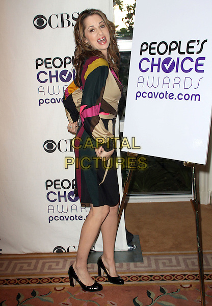PAULA MARSHALL.People's Choice Awards Nominees Announcement held at The Peninsula Hotel, Beverly Hills, California, USA, .10th November 2008..full length pink brown print dress .CAP/ADM/KB.©Kevan Brooks/Admedia/Capital PIctures