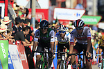 The chasers including World Champion Alejandro Valverde (ESP) Movistar Team sprint for the finish line at the end of Stage 2 of La Vuelta 2019 running 199.6km from Benidorm to Calpe, Spain. 25th August 2019.<br /> Picture: Eoin Clarke | Cyclefile<br /> <br /> All photos usage must carry mandatory copyright credit (© Cyclefile | Eoin Clarke)