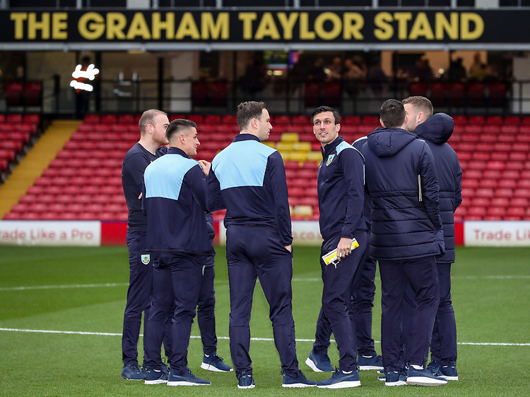 Burnley's players inspecting the pitch before the match<br /> <br /> Photographer Andrew Kearns/CameraSport<br /> <br /> The Premier League - Watford v Burnley - Saturday 19 January 2019 - Vicarage Road - Watford<br /> <br /> World Copyright &copy; 2019 CameraSport. All rights reserved. 43 Linden Ave. Countesthorpe. Leicester. England. LE8 5PG - Tel: +44 (0) 116 277 4147 - admin@camerasport.com - www.camerasport.com