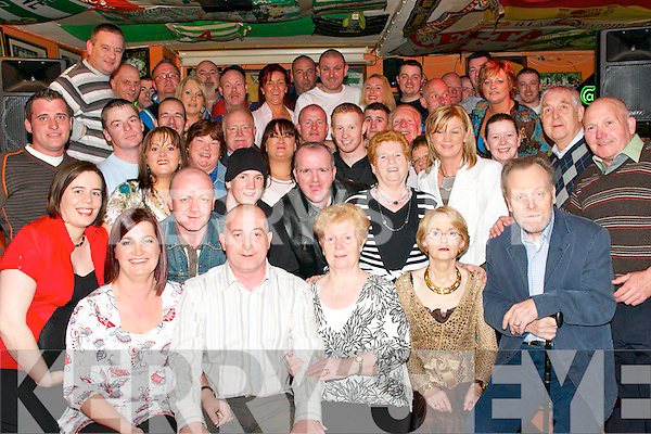 Wedding Party: Mary Fleming and David Morahan, both from Tralee (seated on left) celebrated their marriage in The Huddle Bar, Strand Road, last Friday night with family and friends..