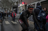 exhausted dirty riders rolling in after finishing<br /> <br /> GP Le Samyn 2017 (1.1)