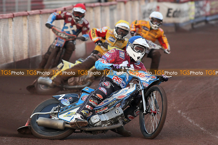 Heat 1: Stuart Robson out in front - Lakeside Hammers vs Birmingham Brummies - Sky Sports Elite League Speedway at Arena Essex Raceway, Purfleet - 10/08/12 - MANDATORY CREDIT: Gavin Ellis/TGSPHOTO - Self billing applies where appropriate - 0845 094 6026 - contact@tgsphoto.co.uk - NO UNPAID USE.