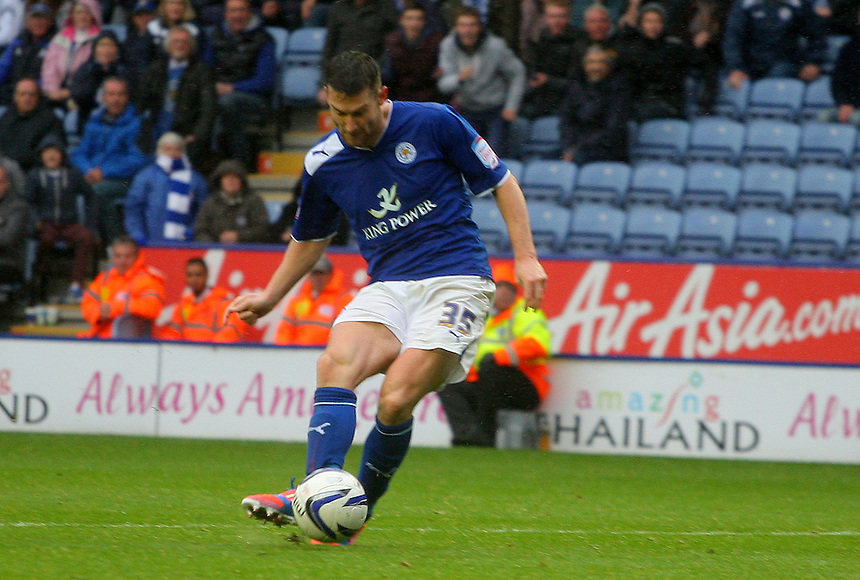 Leicester City's David Nugent scores his  third goal ..Football - npower Football League Championship - Leicester City v Hull City - Sunday 23rd September 2012 - King Power Stadium - Leicester..