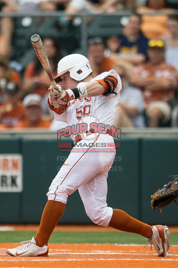 Texas Longhorns third baseman Zane Gurwitz #50 swings the bat during the NCAA baseball game against the Oklahoma State Cowboys on April 26, 2014 at UFCU Disch–Falk Field in Austin, Texas. The Cowboys defeated the Longhorns 2-1. (Andrew Woolley/Four Seam Images)
