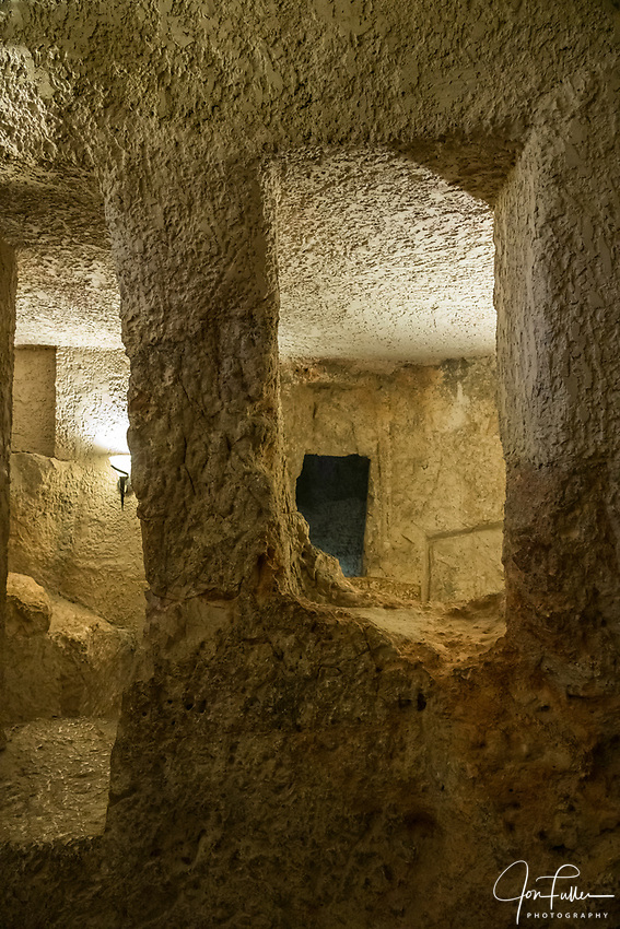 Beneath the Church of Saint Peter in Gallicantu are caves where prisoners could have been whipped and jailed.  Tradition holds that Jesus of Nazareth was whipped here and spent the night in these caves before being taken to Pontius Pilate to be condemned.
