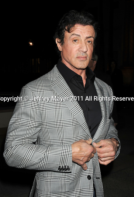 "HOLLYWOOD, CA - MARCH 22: Sylvester Stallone attends HBO's ""His Way"" Los Angeles Premiere at Paramount Theater on the Paramount Studios lot on March 22, 2011 in Hollywood, California."