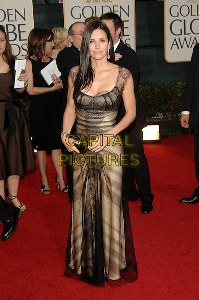 COURTENEY COX ARQUETTE.Red Carpet Arrivals - 64th Annual Golden Globe Awards, Beverly Hills HIlton, Beverly Hills, California, USA, January 15th 2007.globes full length black and gold sheer layered dress courtney.CAP/PL.©Phil Loftus/Capital Pictures