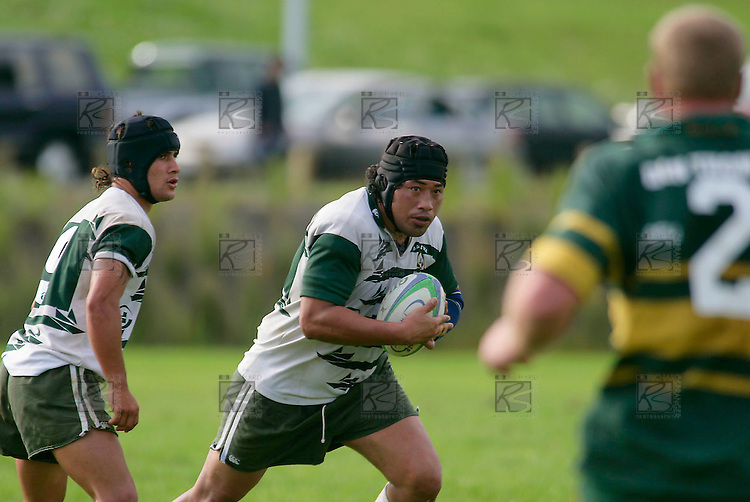 Ma Leota about to make one of his strong runs. Counties Manukau Premier Club Rugby, Pukekohe v Manurewa  played at the Colin Lawrie field, on the 17th of April 2006. Manurewa won 20 - 18.