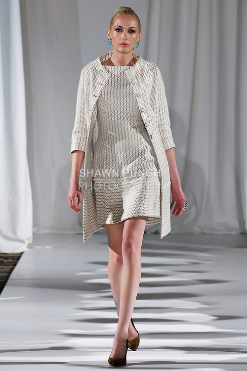 Christine walks runway in a taupe/white graphic print in double-faced silk cotton topper and sheath ensemble, from the b Michael AMERICA Couture Spring 2013 collection during Mercedes-Benz Fashion Week Spring 2013, at the Jumeirah Essex House on September 12, 2012.