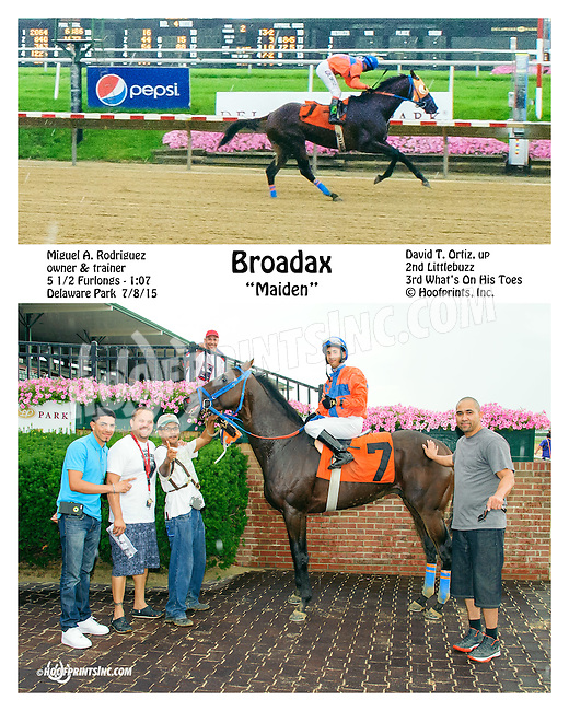 Broadax winning at Delaware Park on 7/8/15