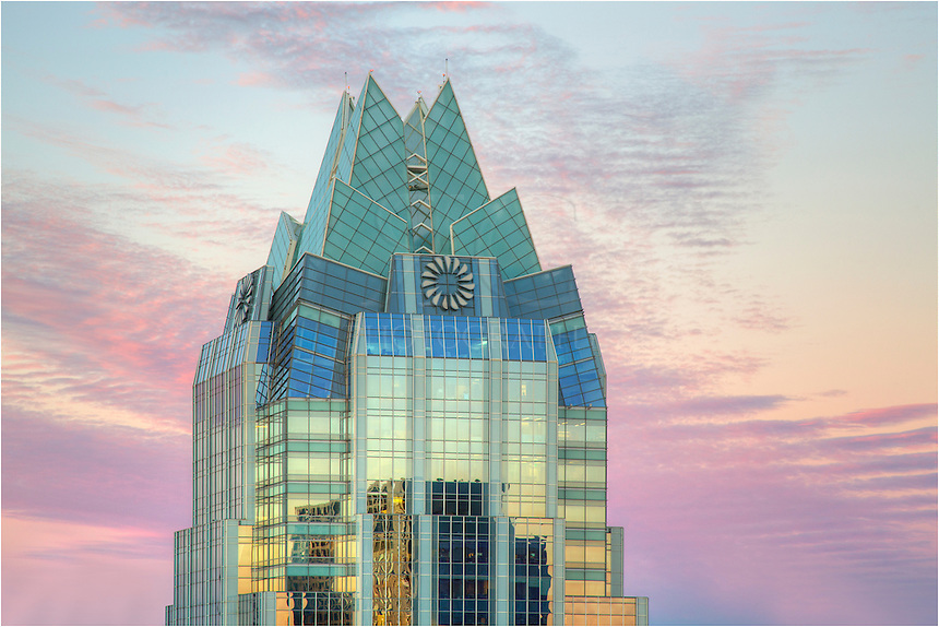As an icon of the Austin skyline, the Frost Tower lends itself to good photos. The architecture is stunning, and with the glass against a pretty sunset, the colors really stand out. This  picture was taken from the roof of a nearby building as the sun was going down behind me on a peaceful November evening.
