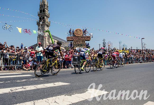 breakaway group riding along the crowds. <br /> <br /> Stage 6: Brest > Mûr de Bretagne / Guerlédan (181km)<br /> <br /> 105th Tour de France 2018<br /> ©kramon