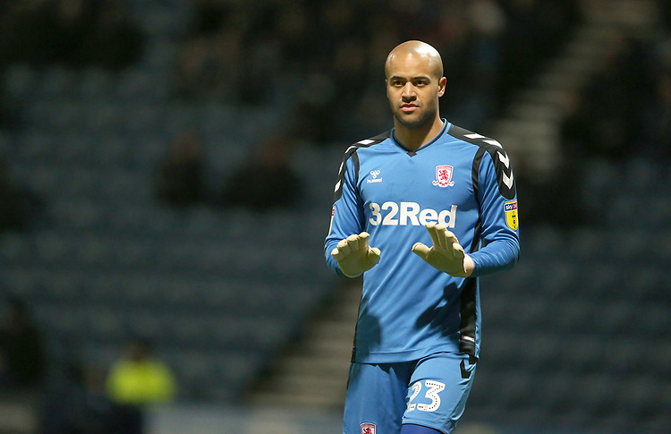 Middlesbrough's goalkeeper Darren Randolph<br /> <br /> Photographer Stephen White/CameraSport<br /> <br /> The EFL Sky Bet Championship - Preston North End v Middlesbrough - Tuesday 27th November 2018 - Deepdale Stadium - Preston<br /> <br /> World Copyright © 2018 CameraSport. All rights reserved. 43 Linden Ave. Countesthorpe. Leicester. England. LE8 5PG - Tel: +44 (0) 116 277 4147 - admin@camerasport.com - www.camerasport.com