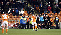 Blackpool players look dejected as Barnsley celebrate Cameron McGeehan's opening goal <br /> <br /> Photographer Rich Linley/CameraSport<br /> <br /> The EFL Sky Bet League One - Blackpool v Barnsley - Saturday 22nd December 2018 - Bloomfield Road - Blackpool<br /> <br /> World Copyright &copy; 2018 CameraSport. All rights reserved. 43 Linden Ave. Countesthorpe. Leicester. England. LE8 5PG - Tel: +44 (0) 116 277 4147 - admin@camerasport.com - www.camerasport.com