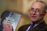 Senate Minority Leader Chuck Schumer, Democrat of New York, holding book &quot;A Budget for a Better America: Promises Kept Taxpayers First&quot; speaks during a press conference following a Democratic Caucus lunch on Capitol Hill in Washington, D.C. on March 12, 2019. <br /> CAP/MPI/RS<br /> &copy;RS/MPI/Capital Pictures