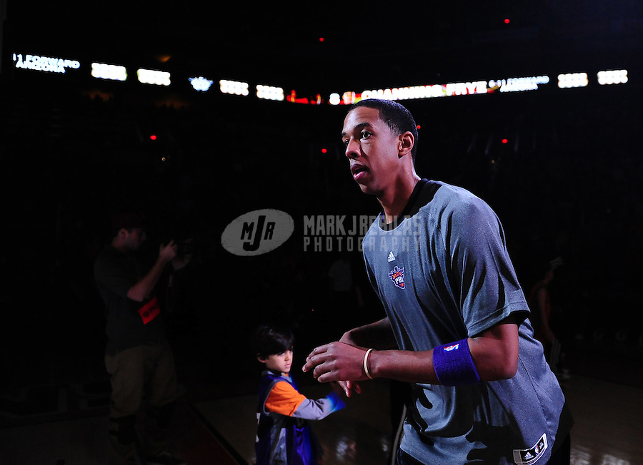 Dec. 28, 2011; Phoenix, AZ, USA; Phoenix Suns center Channing Frye before the game against the Philadelphia 76ers at the US Airways Center. The 76ers defeated the Suns 103-83. Mandatory Credit: Mark J. Rebilas-USA TODAY Sports