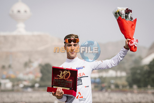 Young riders White Jersey for Elie Gesbert (FRA) Team Arkea Samsic after Stage 6 of the 10th Tour of Oman 2019, running 135.5km from Al Mouj Muscat to Matrah Corniche, Oman. 21st February 2019.<br /> Picture: ASO/P. Ballet | Cyclefile<br /> All photos usage must carry mandatory copyright credit (© Cyclefile | ASO/P. Ballet)