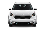Car photography straight front view of a 2017 KIA Niro LX PHEV 5 Door Hatchback