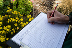 Entomologist Andrew Salisbury recording insect visitors on Plants for Bugs research beds at Deers Farm Wisley Village.