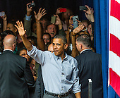 United States President Barack Obama waves to supporters at the Bridgeport Arts Center in Chicago, Illinois during a fundraising event celebrating his birthday, August 12, 2012..Credit: Ralf-Finn Hestoft / Pool via CNP