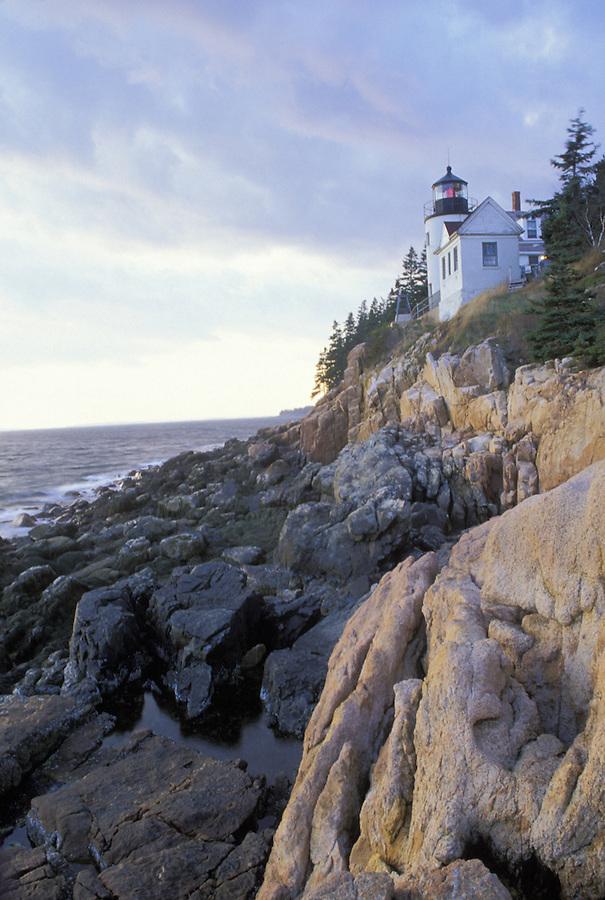 Bass Harbor Light on cliffs overlooking Atlantic Ocean, Bass Harbor, Maine