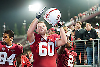 STANFORD, CA - SEPTEMBER 15, 2012:  Brian Moran celebrates after the game against USC to open the PAC-12 regular season competition.  Stanford defeated the Trojans 21-14.