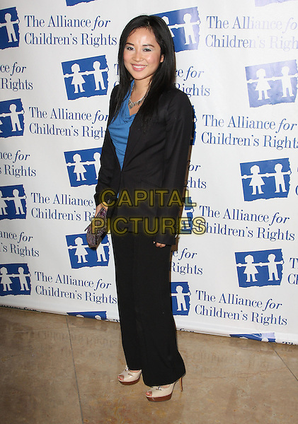 AMY RIDER .Attending The Alliance for Children's Rights held At The Beverly Hilton Hotel, Beverly Hills, California, USA,.10th February 2010..full length suit trousers jacket  black blue silver necklace top shoes heels cream platform .CAP/ADM/KB. ©Kevan Brooks/AdMedia/Capital Pictures..