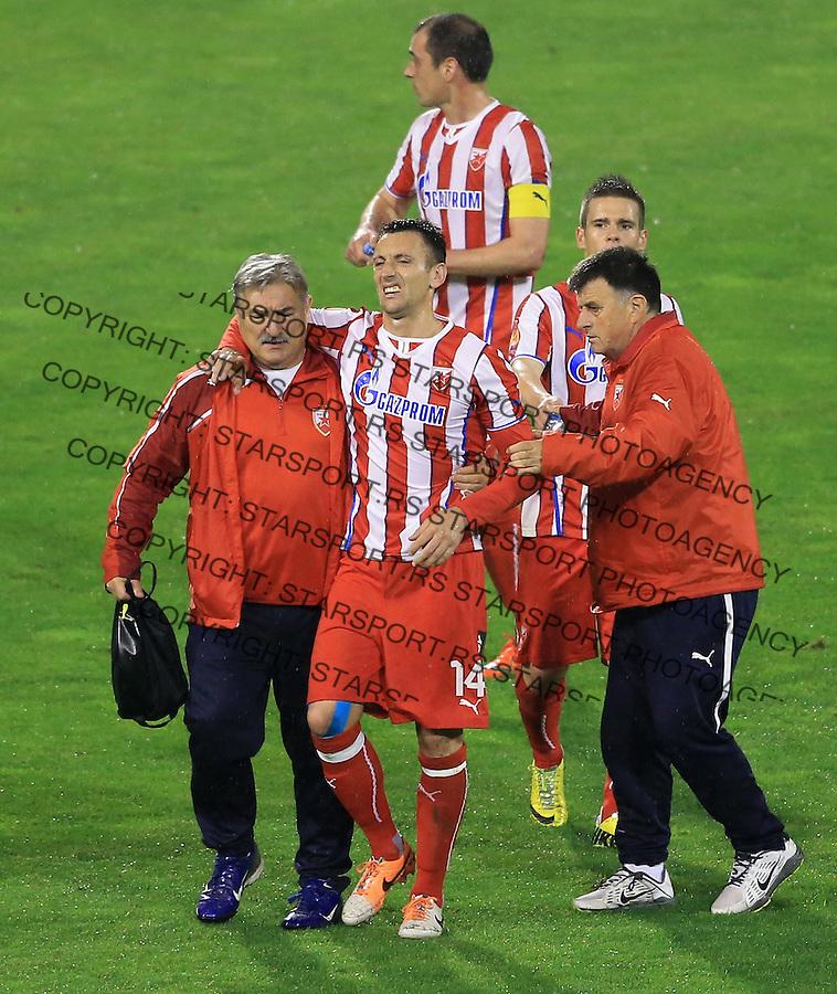 Fudbal Jelen super league season 2013-2014<br /> Crvena Zvezda v Rad <br /> Savo Pavicevic (C) povreda injured<br /> Beograd, 05.03.2014.<br /> foto: Srdjan Stevanovic/Starsportphoto&copy;