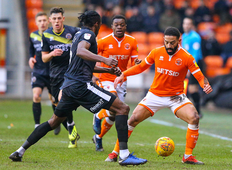 Blackpool's Liam Feeney takes on Shrewsbury Town's Omar Beckles<br /> <br /> Photographer Alex Dodd/CameraSport<br /> <br /> The EFL Sky Bet League One - Blackpool v Shrewsbury Town - Saturday 19 January 2019 - Bloomfield Road - Blackpool<br /> <br /> World Copyright &copy; 2019 CameraSport. All rights reserved. 43 Linden Ave. Countesthorpe. Leicester. England. LE8 5PG - Tel: +44 (0) 116 277 4147 - admin@camerasport.com - www.camerasport.com