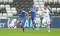 Bolton Wanderers' Josh Magennis under pressure from Swansea City's Matt Grimes<br /> <br /> Photographer Kevin Barnes/CameraSport<br /> <br /> The EFL Sky Bet Championship - Swansea City v Bolton Wanderers - Saturday 2nd March 2019 - Liberty Stadium - Swansea<br /> <br /> World Copyright © 2019 CameraSport. All rights reserved. 43 Linden Ave. Countesthorpe. Leicester. England. LE8 5PG - Tel: +44 (0) 116 277 4147 - admin@camerasport.com - www.camerasport.com