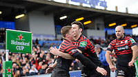 Chris Ashton of Saracens is congratulated by Duncan Taylor of Saracens after scoring a try during the Heineken Cup Round 6 match between Saracens and Connacht Rugby at Allianz Park on Saturday 18th January 2014 (Photo by Rob Munro)