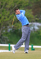 Stephen Healy (Claremorris) on the 1st tee during the 3rd round of the East of Ireland Amateur Open Championship 2013 Co Louth Golf club 3/6/13<br /> Picture:  Thos Caffrey / www.golffile.ie