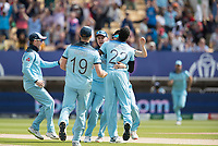 Jofra Archer (England) celebrates the wicket of Finch with jubilant team mates during Australia vs England, ICC World Cup Semi-Final Cricket at Edgbaston Stadium on 11th July 2019
