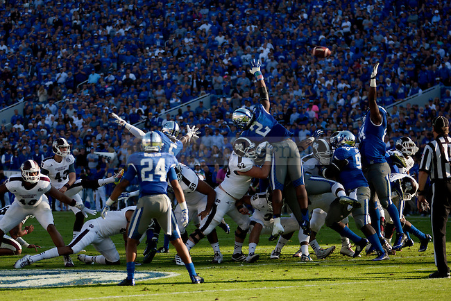 Special teams of the Kentucky Wildcats try to block a kick during the first half of the game against the Mississippi State Bulldogs at Commonwealth Stadium on Saturday, October 25, 2014 in Lexington, Ky. Mississippi State defeated Kentucky 45-31.Photo by Michael Reaves | Staff