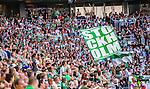 Stockholm 2014-07-20 Fotboll Superettan Hammarby IF - &Ouml;sters IF :  <br /> Hammarbys supportrar med en flagga<br /> (Foto: Kenta J&ouml;nsson) Nyckelord:  Superettan Tele2 Arena Hammarby HIF Bajen &Ouml;ster &Ouml;IF supporter fans publik supporters