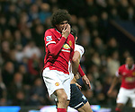 Marouane Fellaini of Manchester United reacts after being elbowed by Bailey Wright of Preston North End - FA Cup Fifth Round - Preston North End  vs Manchester Utd  - Deepdale Stadium - Preston - England - 16th February 2015 - Picture Simon Bellis/Sportimage
