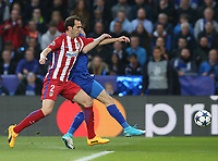 Atletico Madrid's Diego Godin manhandles Leicester City's Jamie Vardy<br /> <br /> Photographer Stephen White/CameraSport<br /> <br /> UEFA Champions League Quarter Final Second Leg - Leicester City v Atletico Madrid - Tuesday 18th April 2017 - King Power Stadium - Leicester <br />  <br /> World Copyright &copy; 2017 CameraSport. All rights reserved. 43 Linden Ave. Countesthorpe. Leicester. England. LE8 5PG - Tel: +44 (0) 116 277 4147 - admin@camerasport.com - www.camerasport.com